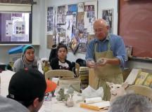 SCULPTING STUDENTS: Joe Mariscal instructs his ceramics class. PHOTO BY ORLANDO JOSE