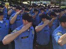 AT ATTENTION: Members of the Delta College Basic Peace Officer Academy's first Intensive Program, which operates during the day, are shown in morning formation. PHOTO COURTESY OF DELTA COLLEGE BASIC PEACE OFFICER ACADEMY