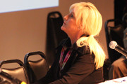 IN ATHERTON: Erin Brockovich looking up at the screen during meeting. PHOTO BY RICHARD REYES