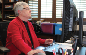 President and Superintendent Dr. Kathy Hart in her office in late January. Photo by Vivienne Aguilar